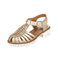 Girls gold geek sandals
