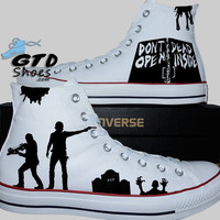 Hand Painted Converse Hi. The Walking Dead. Rick Grimes, Daryl Dixon, Walkers. Walkers. V3. Handpainted shoes.