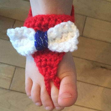 Patriotic Red White & Blue Crochet Baby Sandals with a Bow, Barefoot Sandals, Baby Girl Booties