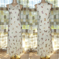 Vintage 90s Retro 30s White SILK Butterfly Print Bias Harlow Gown S/M Formal Gatsby Dress