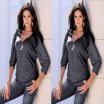 Plunging Three Quarter Length Sleeve Blouse