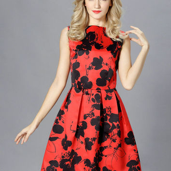 Red Floral Print Sleeveless V-Back Pleated Skater Dress