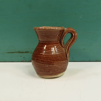 Miniature Brown Glaze Pottery Water Jug Vase Dollhouse Shadow Box