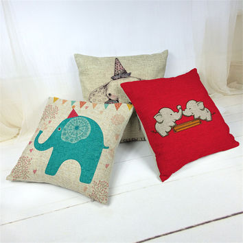 New Linen Cushion Elephant  Printed 43x43cm For Sofa Decorative Cotton Throw Sofa Decor Couch decorative pillows Cojines