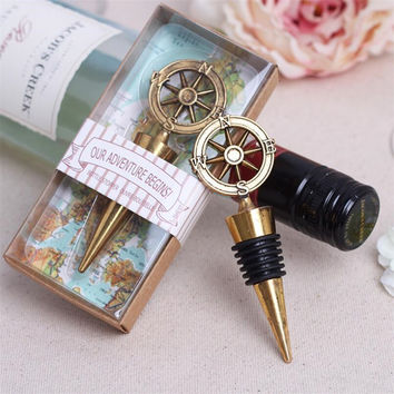 1pcs Golden Compass Wine Stopper Wedding Favors And Gifts Wine Bottle Opener Stopper Bar Tools Souvenirs For Party Supplies