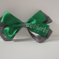 Harry Potter Slytherin's House Colors Green and Silver Hair Bow