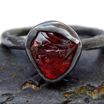 fire opal engagement ring, raw opal ring black silver, organic stone ring opal, uncut fire opal ring molten band, twig opal ring organic
