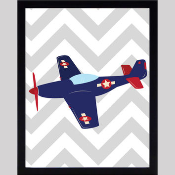 Navy Red Airplane Gray Chevron Nursery Decor Baby Print Floral Art CUSTOMIZE YOUR COLORS 8x10 Prints Nursery Decor Art Baby Room Decor Kids