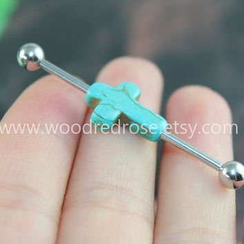 Cross Industrial Barbell With Turquiose Cross Body Jewelry Ear Jewelry Double Piercing,Cross earring