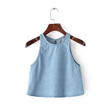 Bralette Beach Hot Summer Sexy Comfortable Stylish Blue Round-neck Sleeveless Denim Vest [5013430852]