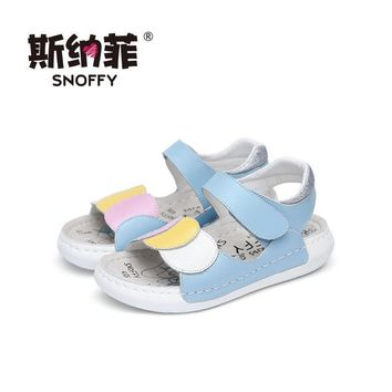 Snoffy Childrens Leather Sandals Open Toe Summer Girls Shoes Flat Heel Flower Baby Tod