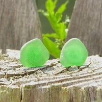 Green Sea Glass Stud Earrings by Wave of Life