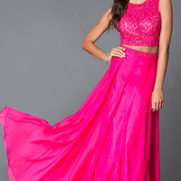 Two Piece Fuchsia Dave and Johnny 2376 Prom Dress