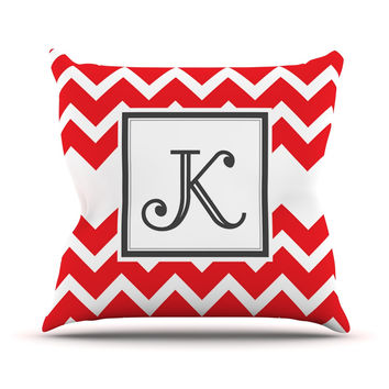 "KESS Original ""Monogram Chevron Red"" Throw Pillow"