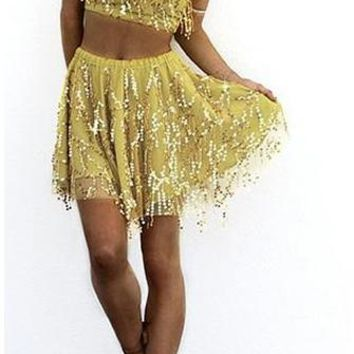 Dancing Diva Yellow Gold Sequin Fringe Tassel Mesh Strapless Tie Back Bandeau Crop Skater Circle A Line Flare Two Piece Mini Dress