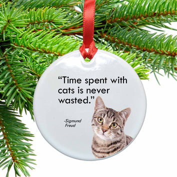 Time Spent with Cats Ceramic Christmas Ornament