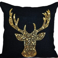 Deer Pillow Cover - Animal Pillows with Stag Embroidered in Gold Sequin -Burlap Pillow Covers -Gold Deer Pillow Covers - Gold Pillow Covers- Christmas Design Black Throw Pillow Covers- Decorative Cushion Covers- Burlap Cushion Covers- Handcrafted Hand Embr