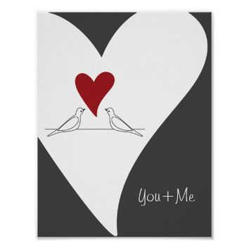 Red Heart White Doves In Love Rustic Modern Custom Poster