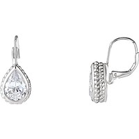 Sterling Silver CZ Pear Shaped Hinged Lever Back Earrings