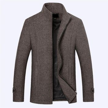 New and winter men's wool coat business casual solid color stand collar coat jacket