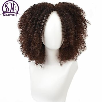 MSIWIGS Brown Synthetic Curly Wigs for Black Women Heat Resistant Ombre Short Afro Wig African American Natural 12 Inches Hair