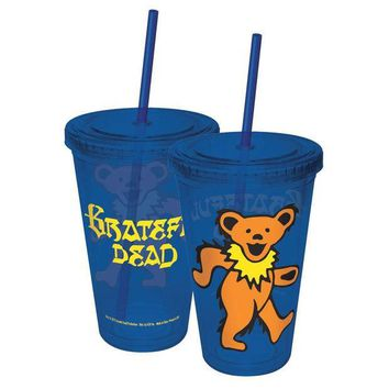 PEAPGQ9 Grateful Dead - Dancing Bear Acrylic Tumbler With Straw