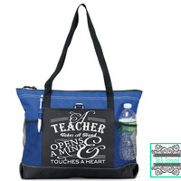 Teacher Gift - A Teacher Takes A Hand Opens A Mind & Touches A Heart - Tote Bag - Back To School - Teacher Bag - Teacher