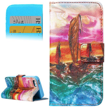 Sailing Boat Under the Setting Sun Pattern Leather Case with Holder and Card Slots for iPhone 5 / 5S