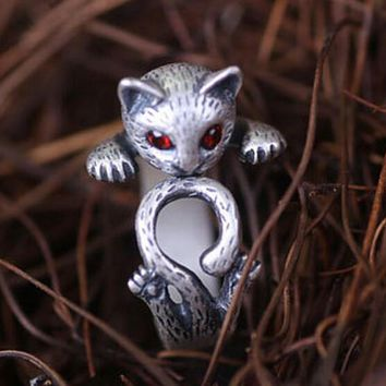 Vintage Cat Ring - 925 Silver Ocelot Ring with Rhinestone - Handmade Adjustable Ring + Gift Box