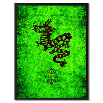 Dragon Chinese Zodiac Canvas Print, Black Picture Frame Home Decor Wall Art Gift
