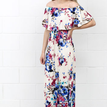 Watercolor Floral Off Shoulder Flutter Maxi Dress {Ivory Mix}