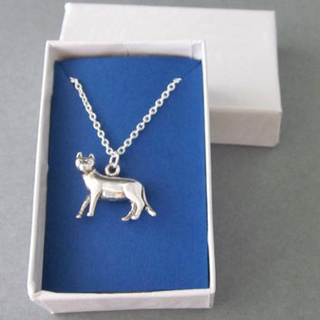 Sterling Silver Cat Charm Necklace Dimensional Body Cat Lovers Jewelry