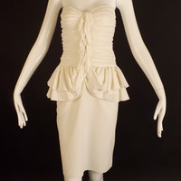 YVES SAINT LAURENT-White Knit Strapless Dress, Size-8