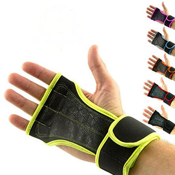 Palm Protector Gloves with Integrated Wrist Support for Wrists - Grips for Training - Wrist Weights Velcro Gloves - Perfect Fit Gym Gloves against Calluses- Gripper Gloves for Mans and Womans