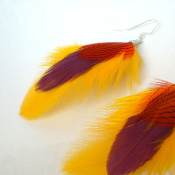 Feather Earrings Handmade Bright Yellow Purple & Orange by donaarg