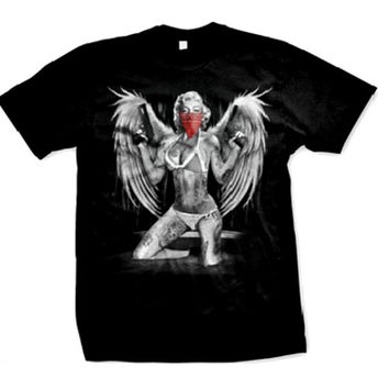 Marilyn Monroe Gangster Wings Tattoos Men's T-shirt,  With Guns and Wings Red Bandana Design Men's Tee (Black, Large)