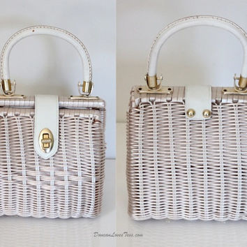 Vintage 60s White Wicker Handbag