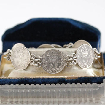 Vintage Sterling Silver British 3 Pence Coin Panel Bracelet - Antique Early 1900s King George V Crown Wreath Motif Foreign Currency Jewelry