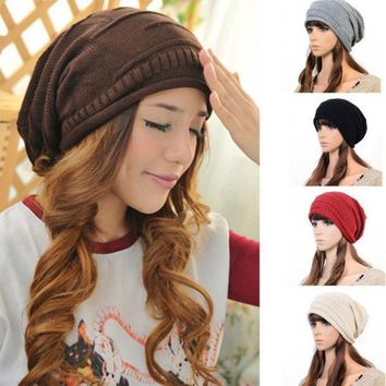1x Women Men Winter Warm Baggy Beanie Knit Crochet Ski Cap Oversized Slouch Hat = 1946184196
