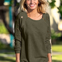 Army Green Zipper Metal Ring Cutout Detail Long Sleeves Top