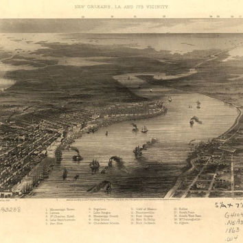 1863 New Orleans, Louisiana- Civil War Era- Beautiful Print=(Antique,Vintage,Old) =Map is Perfect for Framing!