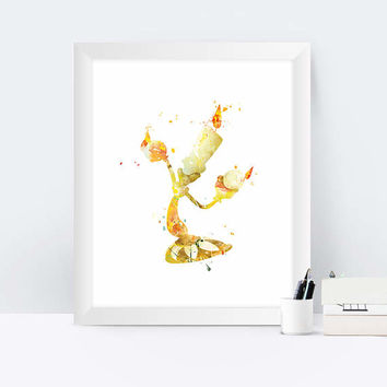 Lumiere Print Beauty and the Beast Lumiere Cogsworth Art Beauty and Beast Party Watercolor Disney Belle instant Download Nursery Wall Art
