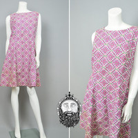 Vintage 60s Shift Dress Geometric Aztec Print Mod Mini Dress Mad Men Large Shift Dress Sleeveless Dress Bright Colors 1960s Go go Pink Green