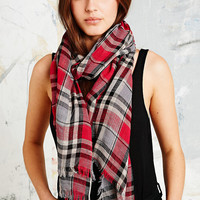 Plaid Scarf in Red and Grey - Urban Outfitters