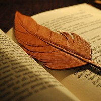 Tooled Leather Feather Bookmark Handmade by leatherandcopper