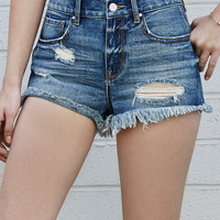 Bullhead Denim Co. Archie Blue Ripped High Rise Cutoff Denim Shorts at PacSun.com