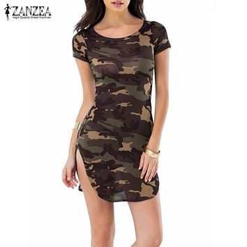 Women Summer Camouflage Bodycon Printed Short Sleeve Long Tops Sexy Causal Mini Dress