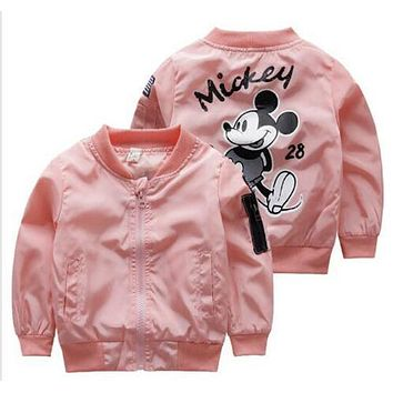 Children boys girls spring autumn cool mickey bomber jackets windbreaker coats 1-5years toddlers boys girls 2017 fall jackets