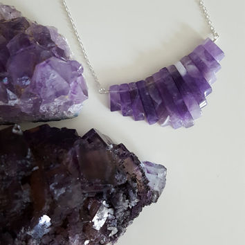 Amethyst Crystal Bib Necklace | Amethyst Bar Necklace | Layered Necklace | February Birthstone |  Amethyst Crystal Fan | Collar Necklace