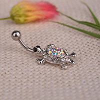 New Arrival Vintage Multicolor Crystal Cute Turtle Dangle Body Piercing Navel Belly Button Ring Bar  (Size: One Size)